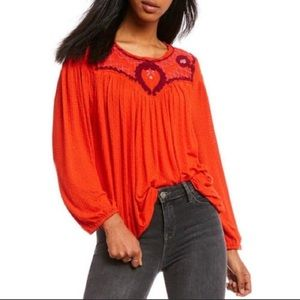 Free people begonia embroidered peasant top